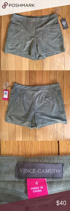 Selling this Vince Camuto Green Suede Shorts on Poshmark! My username is: wefrni. #shopmycloset #poshmark #fashion #shopping #style #forsale #Vince Camuto #Pants