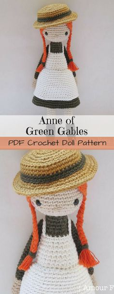 Anne of Green Gables amigurumi doll crochet pattern. Sweet little toy to make with an adorable straw hat and orange braids. Prince Edward Island's little sweetheart. #etsy #ad #lucymaud