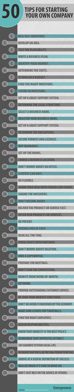 """ENTREPRENEURSHIP - """"50 Tips for Starting Your Own Company"""". #entrepreneurship #startup"""