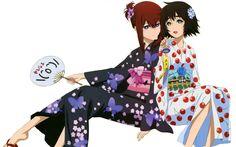 Makise Kurisu and Shiina Mayuri in Yukata