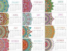 2017 Calendar Set of TWO Mandala Mini Calendar Business Calendar Design 2017, My Journal, Bullet Journal, Kalender Design, Business Calendar, Calendar Wallpaper, Free Printable Calendar, Happy Planner, Planner Stickers
