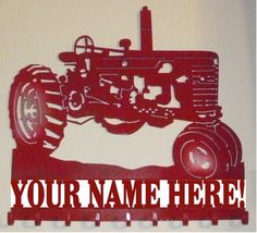 Personalized Key Holder 9 Hooks Organizer Hook Metal International Farmall John Deere McCormick or Oliver Tractor Crafts, Crochet Organizer, Farmall Tractors, Red Tractor, Farm Signs, Case Ih, Scroll Saw Patterns, Metal Signs, Metal Art