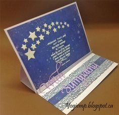 Easel double embossed stars; #ElizabethCraftDesigns die set With Sypathy & Stencil Stars spray; #QuietfireDesign quote stamp; ribbon; https://yogiemp.blogspot.ca/2017/07/mc-july17-easel-double-embossed-stars.html