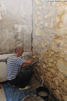 Repointing A Stone Wall With Lime Mortar Old Stone