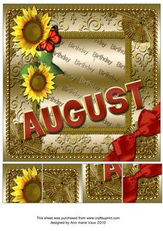 August Sunflower Gold Birthday 8inch Picture Sheet - CUP169375_10 | Craftsuprint