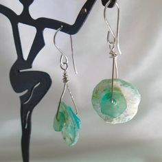 Roman glass Ancient glass dangle earrings  by dhicksdesigns