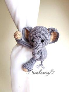 Cotton yarn crochet Elephant Curtain Tieback Elephant crochet