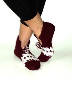 Valentines Handknitted Wool Burgundy and white by aykelila on Etsy, $30.00