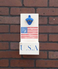 USA United States American Flag Patriotic Distressed Wall Mounted Bottle Opener With Cap Catcher - Custom Orders Welcome! by GrizzlyBearCreations on Etsy