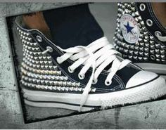 Kettle Black Converse Shoes Capitalize on the Studded Dud Style #DIY trendhunter.com