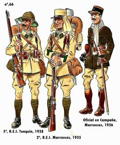 The Foreign Legion, 5th in Tonkin 1938, 2nd in Morocco 1935 and an Officer in Campaign Dress Morocco 1936