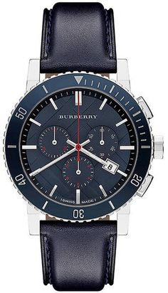 Burberry ~ Mens Blue Leather Strap Watch