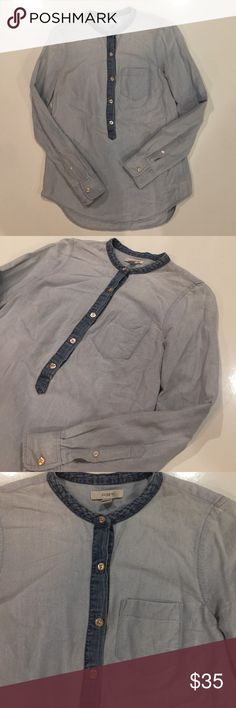 J.Crew women's denim like shirt 100% cotton, but looks similar to denim. Comfortable and versatile women's shirt by J.Crew size 00, can easily fit size 0-2 J. Crew Tops Tees - Long Sleeve