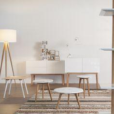 Buffet en chêne et bois MDF blanc High On Wood Zuiver : décoration simple et naturelle tout en légèreté
