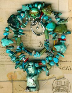 """Southwest Zuni Turquoise Necklace~Standing Stone Bears;Turquoise,Red Coral,19"""""""