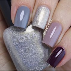 A Zoya nail polish cone mani! I have used (from the pointer to the little finger) August, Ali Stylish Nails, Trendy Nails, Gorgeous Nails, Love Nails, August Nails, Zoya Nail Polish, Winter Nails, Manicure And Pedicure, Diy Nails
