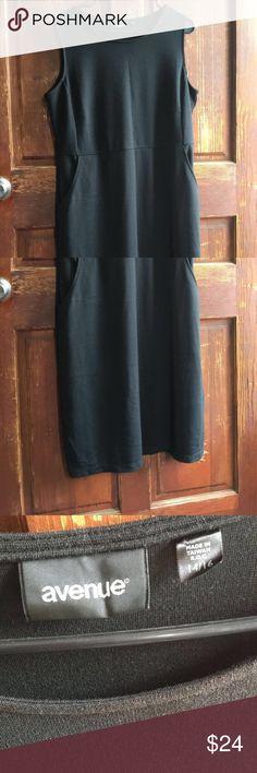 Black avenue dress Knee length stretch all black dress size 14/16 Avenue Dresses Midi