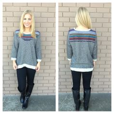Grey Ethnic Embroidered Knit Sweater Top | Dainty Hooligan Boutique