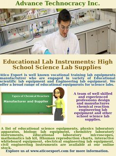 We are Exporter, Suppliers, Importer and Manufacturers of #Scientific #Instruments, #Laboratory_Equipments, #Science_ Lab_Instruments, Educational_Trainers, #Technical_Education_Training_Equipment, #Microscopes, #Lab_Glassware, #Hospital_Furniture_&_Equipments and #Laboratory_Chemicals etc. Have a look on our exlusive collection at Atico Export. For more information call us📲📱 at +91 999 618 6555 😊