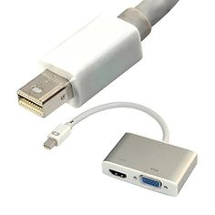 2 in 1 Mini DisplayPort DP to Digi-Port HDMI + VGA dual Female Adapter Convertor Generic http://www.amazon.com/dp/B00MVMAO3S/ref=cm_sw_r_pi_dp_HX9hub1FPP31M
