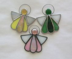 Angels stained glass ornament set of 3 angel favors by Faithlady