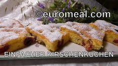 Einfacher saftiger Kirschenkuchen - euromeal.com French Toast, Chicken, Meat, Breakfast, Food, Sheet Pan, Food Food, Morning Coffee, Essen