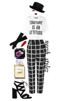 """""""Couture Attitude"""" by tlpollard ❤ liked on Polyvore featuring Topshop, Moschino, Lime Crime, Christian Louboutin and Kokin"""