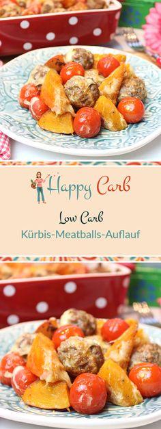 O du schöne Kürbiszeit.  Low Carb Rezepte von Happy Carb. https://happycarb.de/rezepte/fleisch/kuerbis-meatball-gratin/