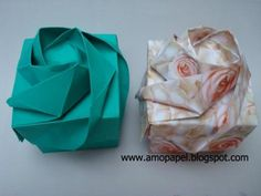 origami box with roses