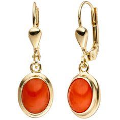 NEU Korallen Ohrhänger Ohrringe orange 333er echt Gold 333 Gelbgold Hänger