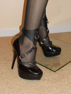 Leather Ankle Cuff/Stiletto Harness Pair by JMD21407 on Etsy, $35.00