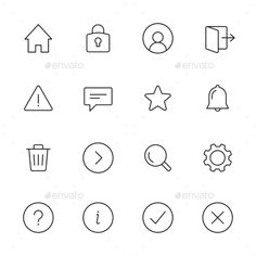 Basic Interface Line Icons — Vector EPS #home #interface • Available here → https://graphicriver.net/item/basic-interface-line-icons/13969439?ref=pxcr