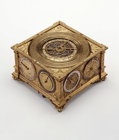 Johann Reinhold, table clock, 1581-1592. Gilded bronze, iron, silver, brass. Strassburg. A remarkably precise highlight of Renaissance clockmaking.  Landesmuseum, Stuttgart