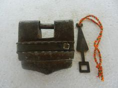 Old Iron Handforged Solid Tricky Puzzle Strip System Padlock, Rich Patina