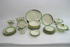 A fine quality and extensive group of Art Deco 'Dawn Pattern' Burleigh Ware, in green colourway, including three graduated jugs, a pair of tureens and plates. Stacey's Auctioneers Dec 2016. Est GBP180-280. Sold GBP80.