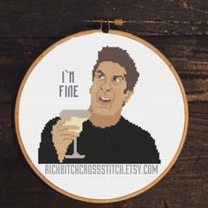 Ross Geller/Friends - I'm fine Pattern and cross stitch available at Richbitchcrossstitch.etsy.com