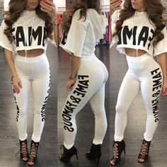 Fashion Letter Print Cropped Skinny Pantsuit