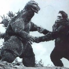 """Godzilla """"cutting the rug"""" with King Kong. Godzilla to join Dancing With the Stars? Godzilla, currently running for President of the Un. Old Posters, King Kong Vs Godzilla, Giant Monster Movies, Japanese Monster, Famous Monsters, Classic Monsters, Horror Movies, Lion Sculpture, Fantasy Monster"""
