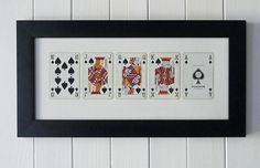 Framed Royal Flush Playing Cards by SusansHouseOfCards on Etsy, $35.50