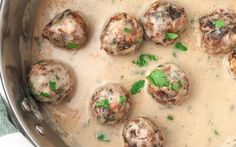 These mushroom-chickpea meatballs are blended with fragrant onions, garlic, nutritional yeast for cheesiness, Sriracha, savory liquid aminos, and a few other spices.