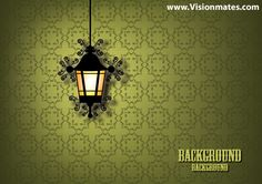 Old oil lamp vector design on very old wallpaper. Premium vector of old lamp design in Ai.