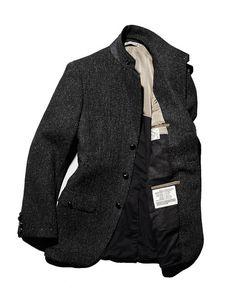 Charcoal Gray Wool Herringbone Military Inspired Jacket. Men's Fall Winter Fashion.