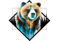 Chest piece idea. Grizzly Bear, Watercolor, Geometric