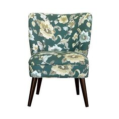Lauren Curved Back Slipper Chair- Peacock (4.453.775 VND) ❤ liked on Polyvore featuring home, furniture, chairs, peacock, colored furniture, upholstered furniture, fabric slipper chair, curved back chair and fabric chairs