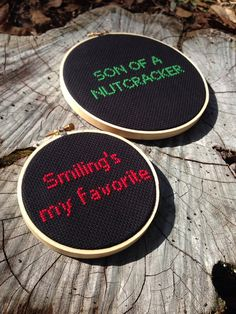 Buddy the ELF Combo - Smiling's my favorite - Son of a Nutcracker - Cross Stitched Hoop Art - Wall Hanging