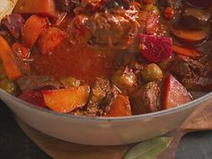 """Beer-Braised Beef Stew (Hoppy and Happy) - Nancy Fuller, """"Farmhouse Rules"""" on the Food Network. Mexican Food Recipes, Beef Recipes, Soup Recipes, Cooking Recipes, Entree Recipes, What's Cooking, Cooking Light, Food Network Canada, Kitchens"""