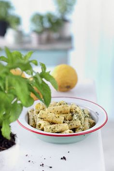 Amateur Cook Professional Eater - Greek recipes cooked again and again: Rigatoni with spearmint, lemon and Kefalotyri cheese pesto
