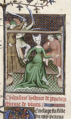 Penelope weaving. From Boccaccio, Des cleres et nobles femmes, De claris mulieribus in an anonymous French translation c. 1400-25, French (Paris). British Library MS Royal 20 C V  f. 61v