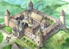 Farleigh Hungerford Castle on Somerset | Reconstruction painting of the inner court as it might have looked in the late 17th century