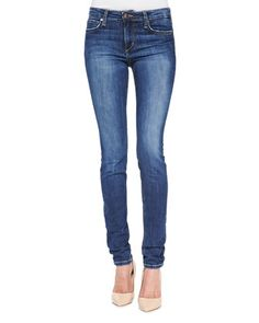 Lindz+Mid-Rise+Skinny+Jeans,+Medium+Blue+by+Joe\'s+Jeans+at+Neiman+Marcus.